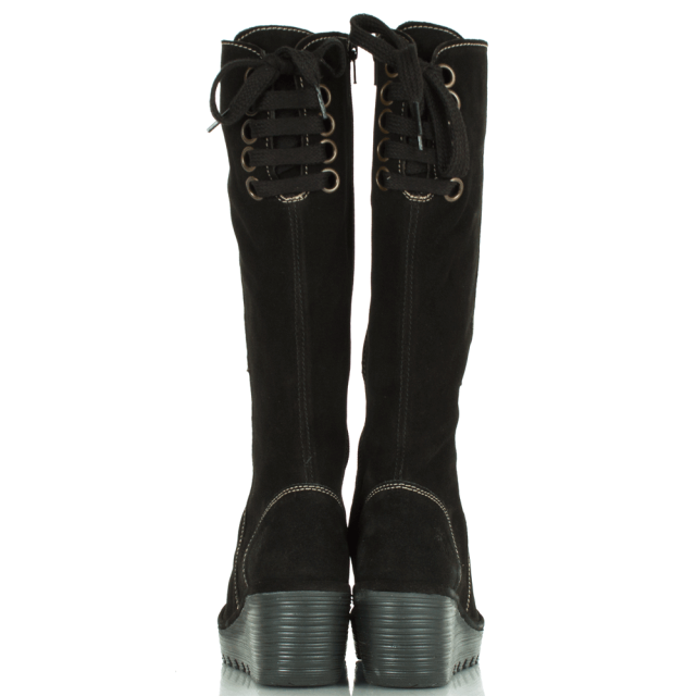 Fly London Yust Black Wedge Knee High Boot