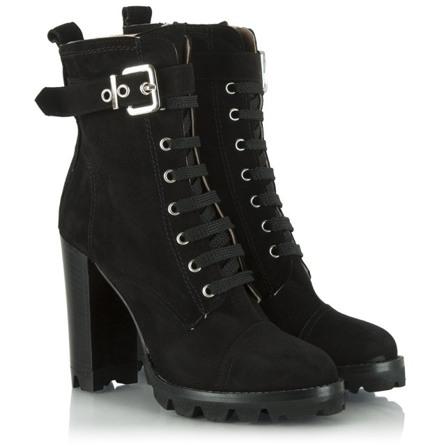 Daniel Exemplary Black Suede Hiker Heeled Ankle Boot