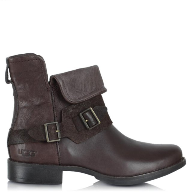 UGG Cybele Lodge Leather Biker Ankle Boot