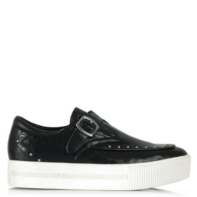 Ash Kony Black Leather Moc Croc Flatform Loafer