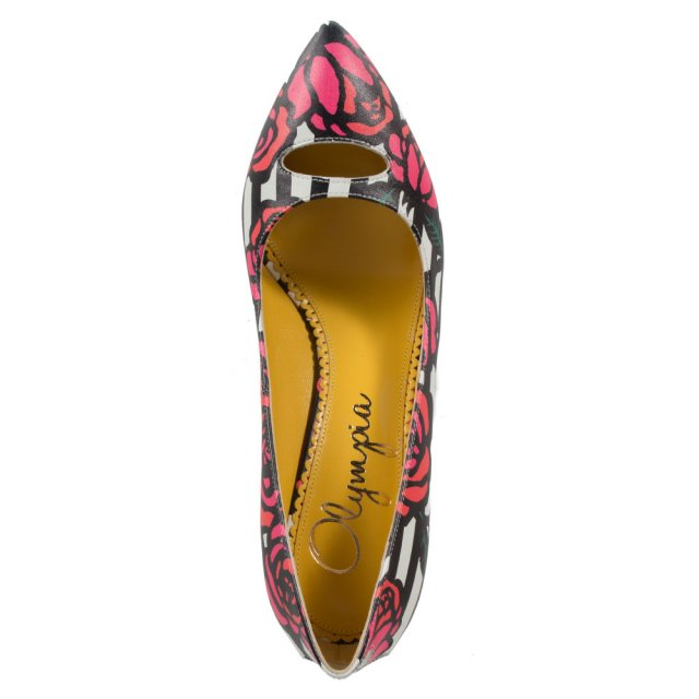 Charlotte Olympia Ada Floral Multicoloured Calfskin Court Shoe