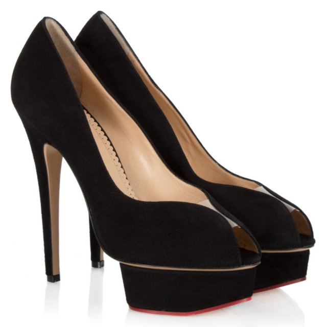 Charlotte Olympia Daphne Black Suede Peep Toe Platform Court