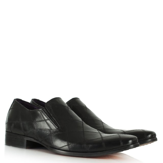 Gucinari Black Leather Diamond Stitch Loafer