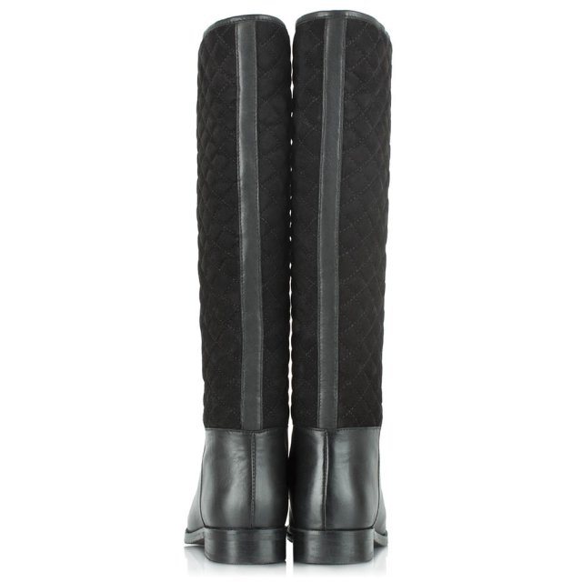 Daniel Acaster Quilted Back Black Leather Knee Boot