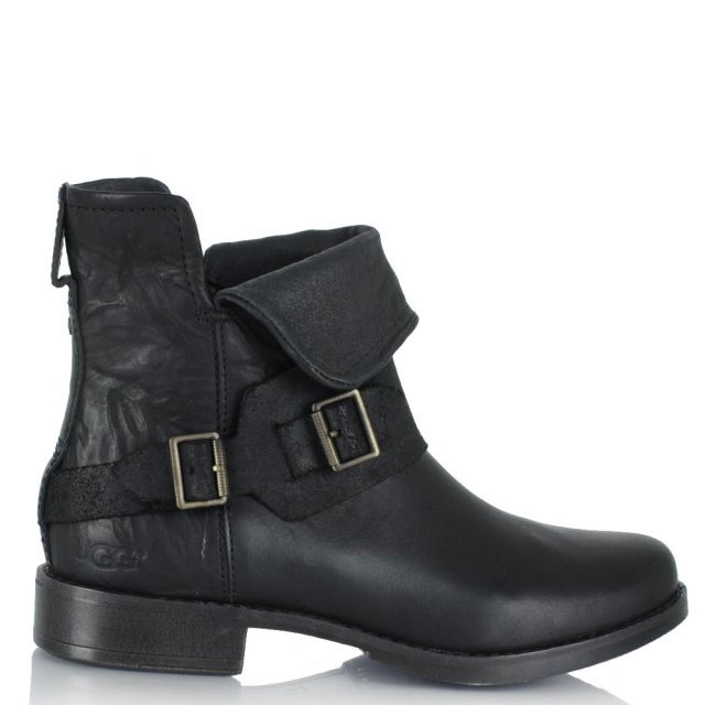 UGG Cybele Black Leather Biker Ankle Boot