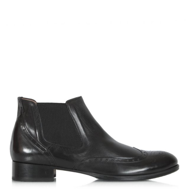Calpierre Black Leather Broque Chelsea Boot