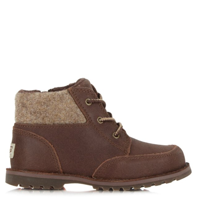 UGG Brown Suede Toddlers Orin Lace Up Boot