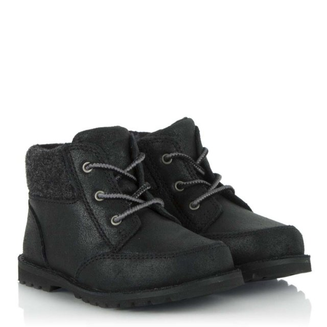 UGG Kids Orin Black Soft Leather Lace Up Boot