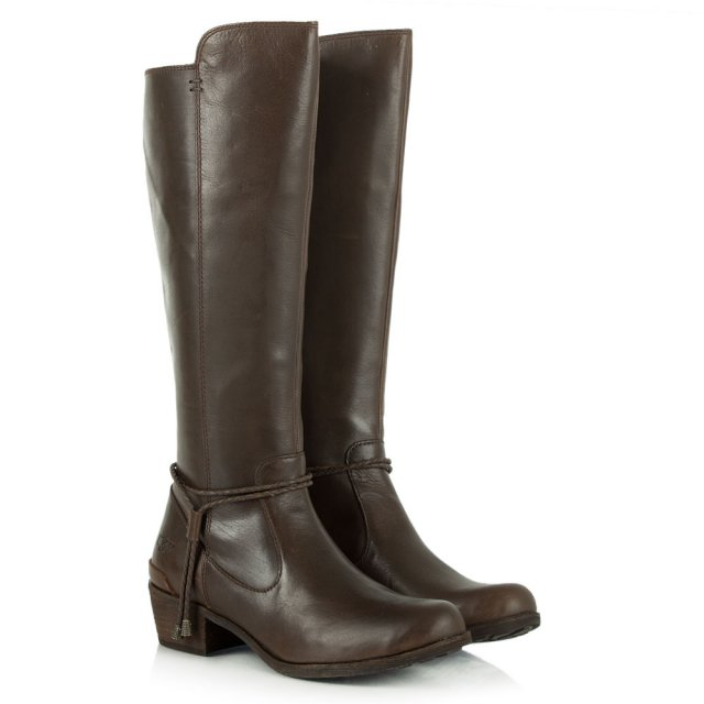 UGG Cierra Tall Brown Grained Leather Knee Boots