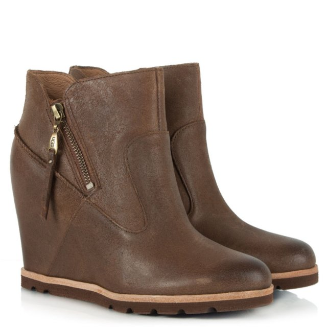 UGG Myrna Tan Distressed Leather Concealed Wedge Ankle Boot