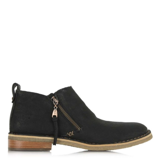 UGG Clementine Black Leather Ankle Boot