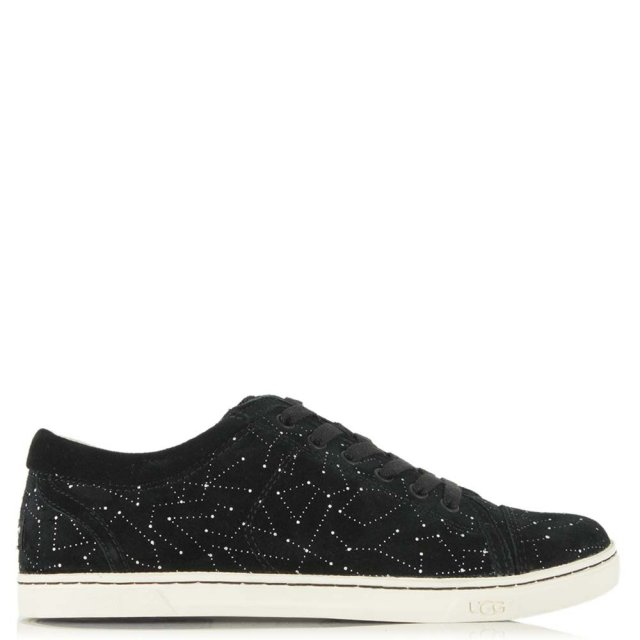 UGG Taya Soft Black Suede 3D Constellation Print Lace Up Trainer