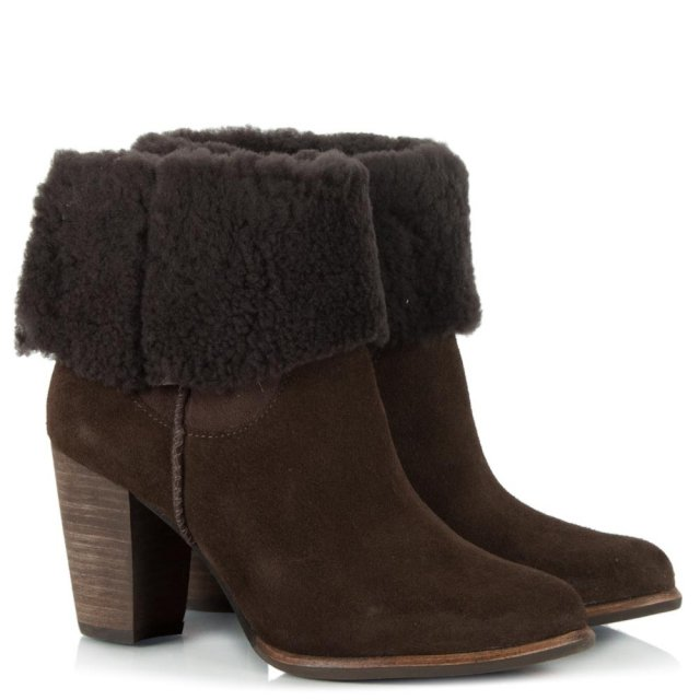 UGG Charlee Chesnut Suede Heeled Ankle Boot