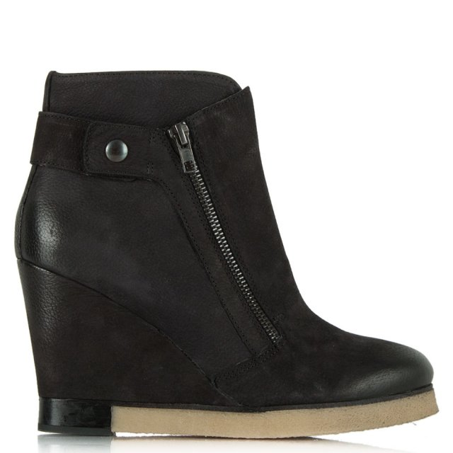 Daniel Adorable Black Leather Wedge Double Zip Ankle Boot