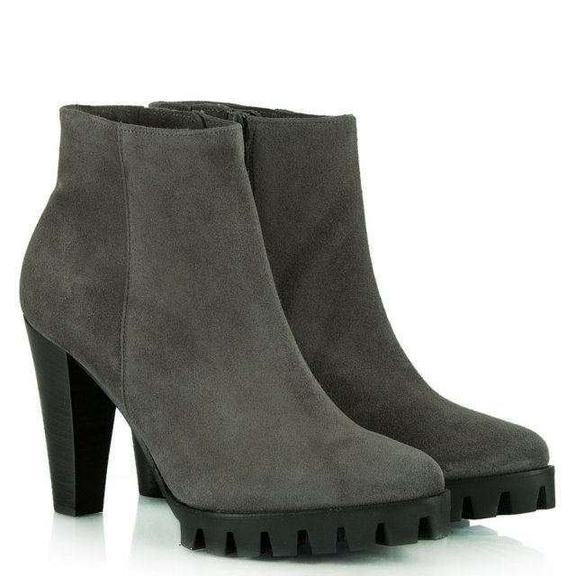 Kennel & Schmenger Azurmendi Pewter Suede Leather Heeled Ankle Boot