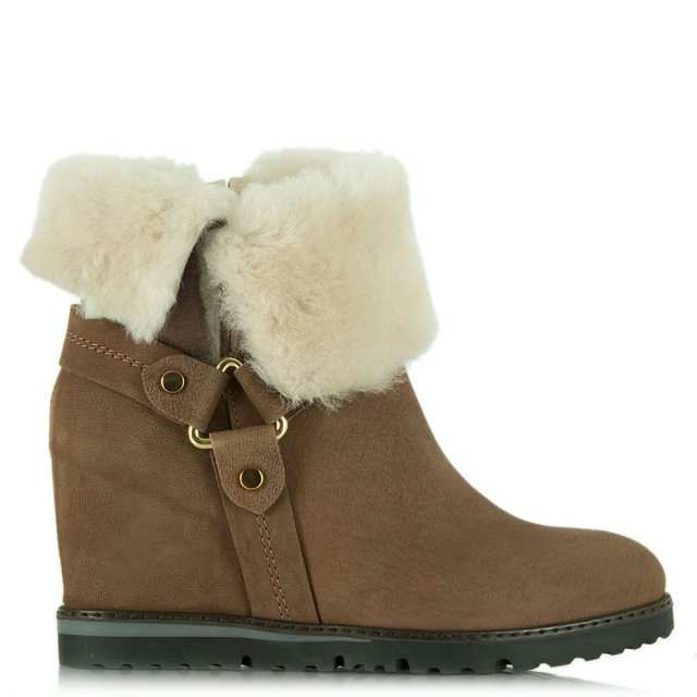 Daniel Cuffie Taupe Suede Wedge Ankle Boot