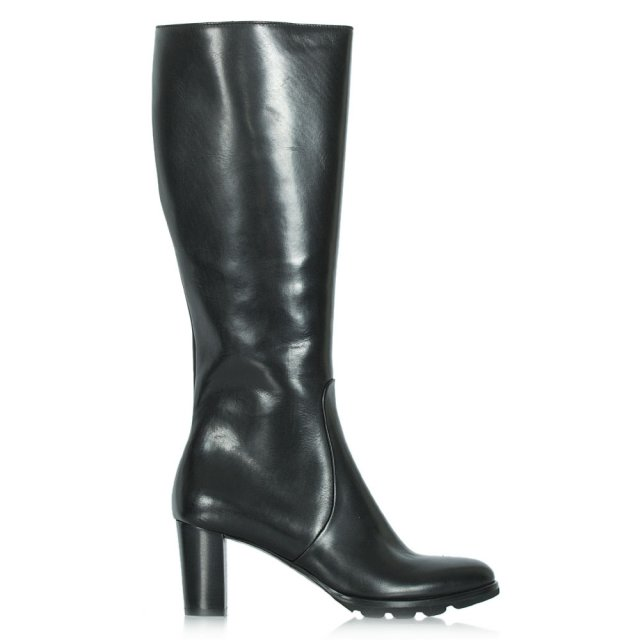 Calpierre Black Leather Knee High Boot