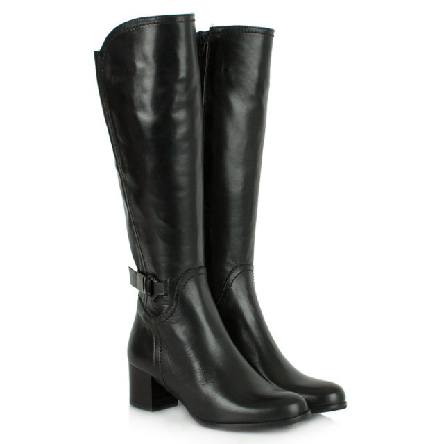 Lamica Acimal 37 Black Leather Buckle Knee High Boot