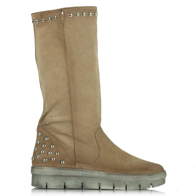 Magui Beige Suede Studded Calf Boot
