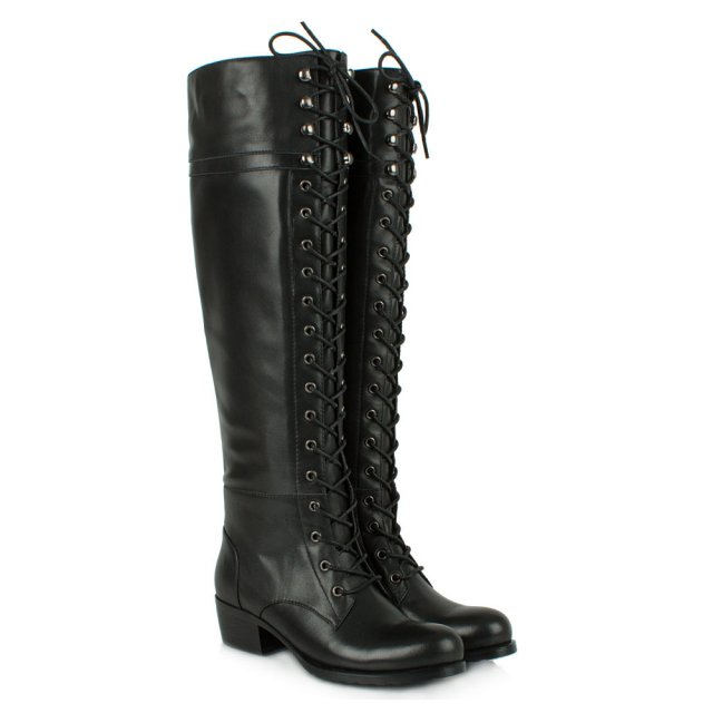 Daniel Priceless Black Leather Lace Up Front Knee High Boot