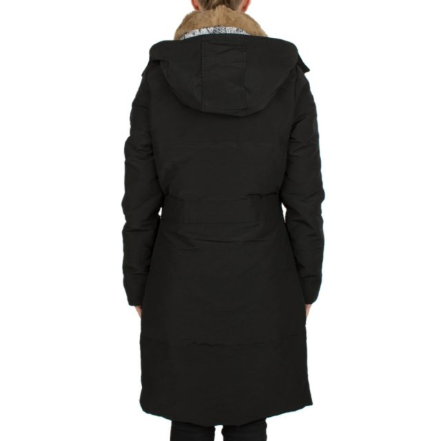 Featuring Black Long Button Front Fur Trim Parka