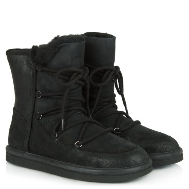UGG Lodge Black Water Resistant Leather Short Lace Up Boot