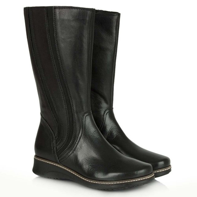 DF By Daniel Spalding Black Leather Elastic Paneled Calf Boot