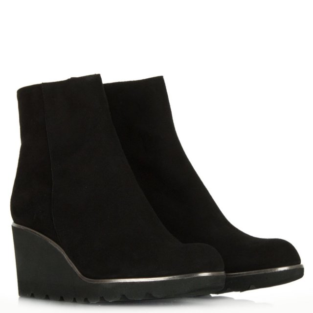Daniel Achieve Black Suede Mid Wedge Ankle Boot