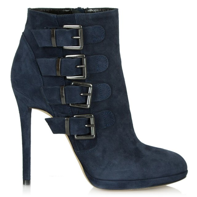 Daniel Skara Navy Suede Buckled Ankle Boot
