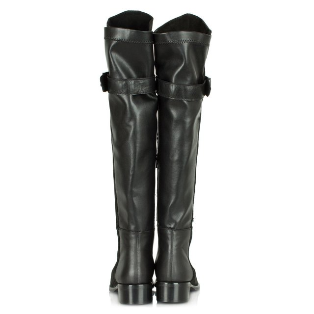 Daniel Luxury Black Suede & Leather Knee High Boot