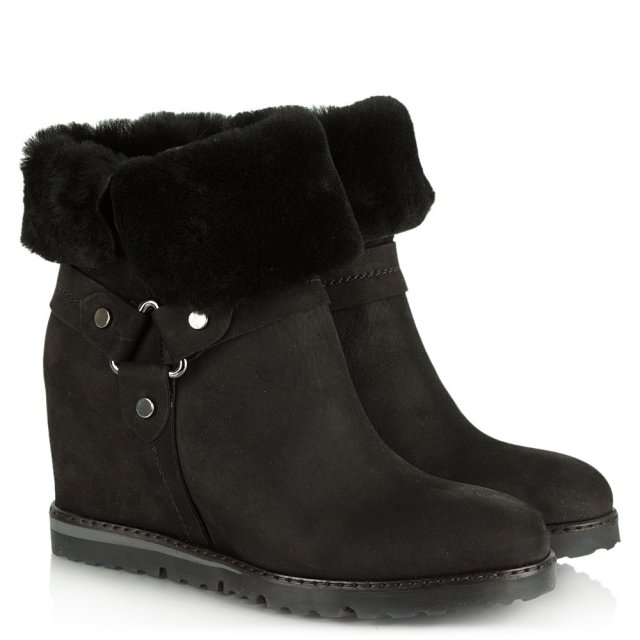 Daniel Cuffie Black Suede Wedge Ankle Boot