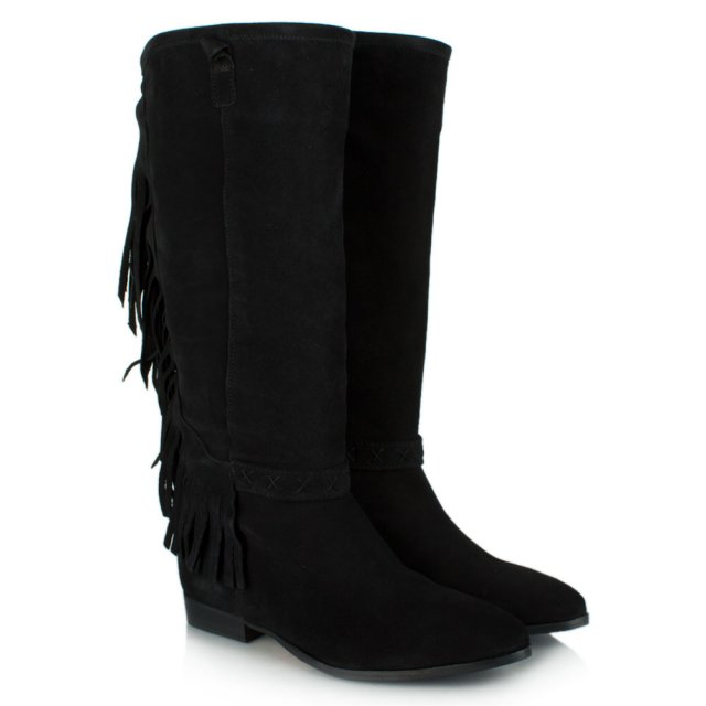 DF By Daniel Riverdale Black Suede Fringed Knee Boot