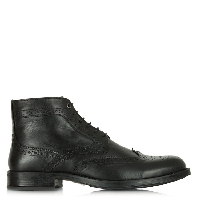 Daniel Howden Black Leather Brogue Detail Boot