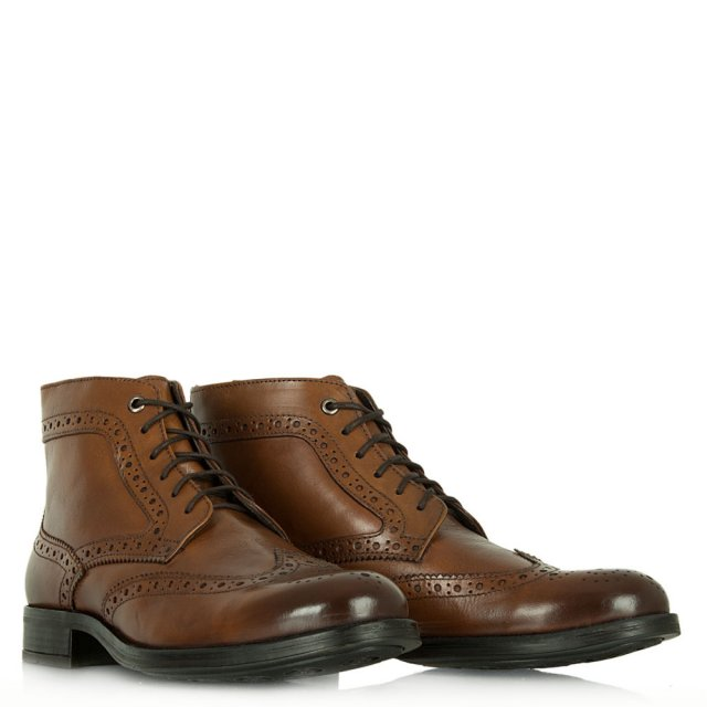 Daniel Howden Tan Leather Brogue Detail Boot