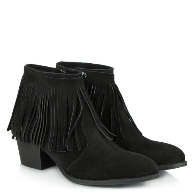 Daniel Desirable Black Suede Detachable Fringed Ankle Boot