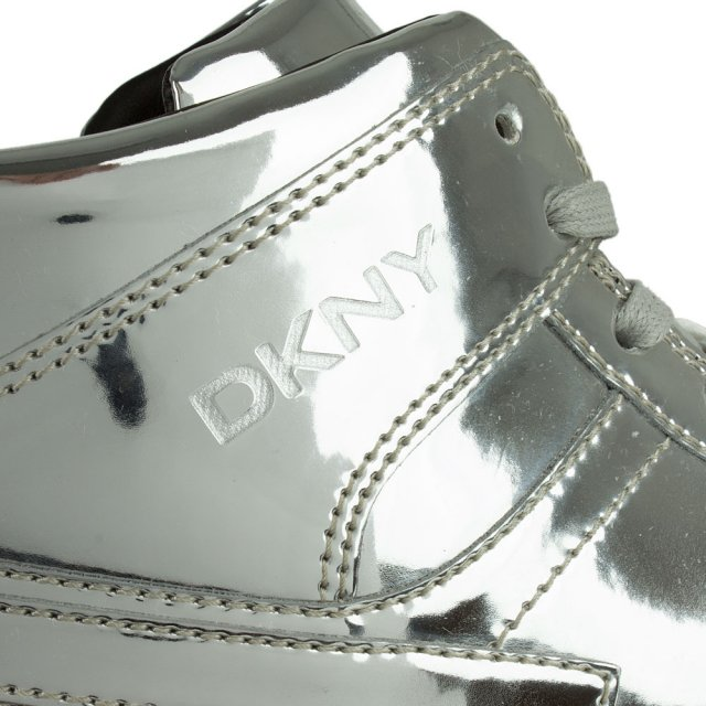 DKNY Carl Silver Mirror Metallic Lace Up High Top Trainer