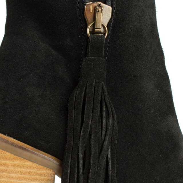 DF By Daniel Fieldstone Black Suede Tassle Stacked Heel Ankle Boot