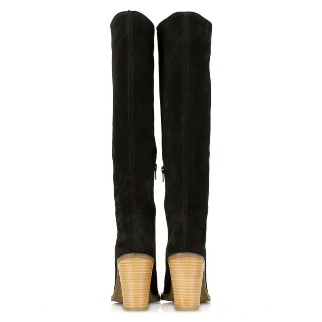 DF By Daniel Kingsbridge Black Suede Stacked Heel Knee High Boot