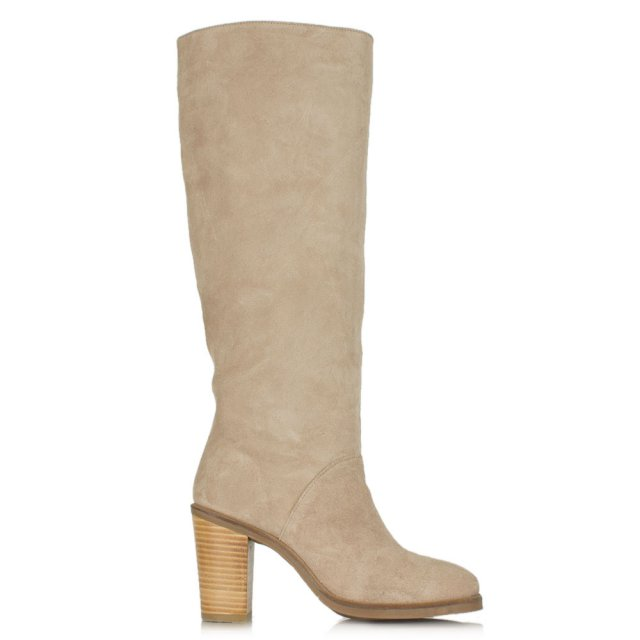 DF By Daniel Kingsbridge Tan Suede Stacked Heel Knee High Boot
