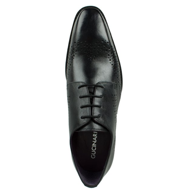 Gucinari Black Leather Hole Punch Lace Up Shoe