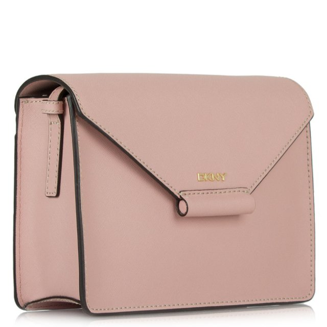 DKNY Gabrielle Rose Leather Flap Over Envelope Messenger Bag