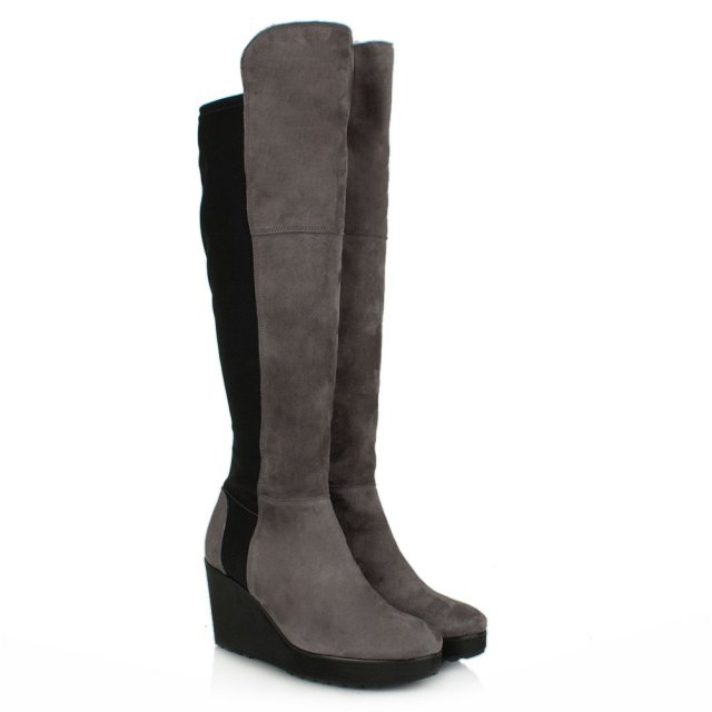 Kennel & Schmenger Zaff Grey Suede Stretch Back Wedge Knee Boot