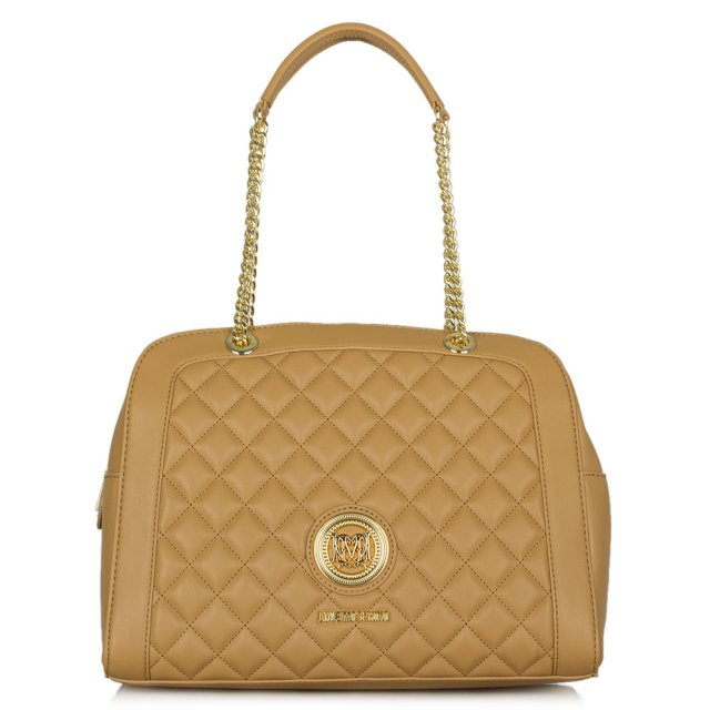 Love Moschino Katy Tan Quilted Chain Handel Shoulder Bag