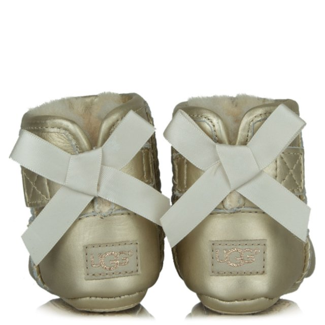 UGG Kids Jesse Gold Leather Satin Bow Boot