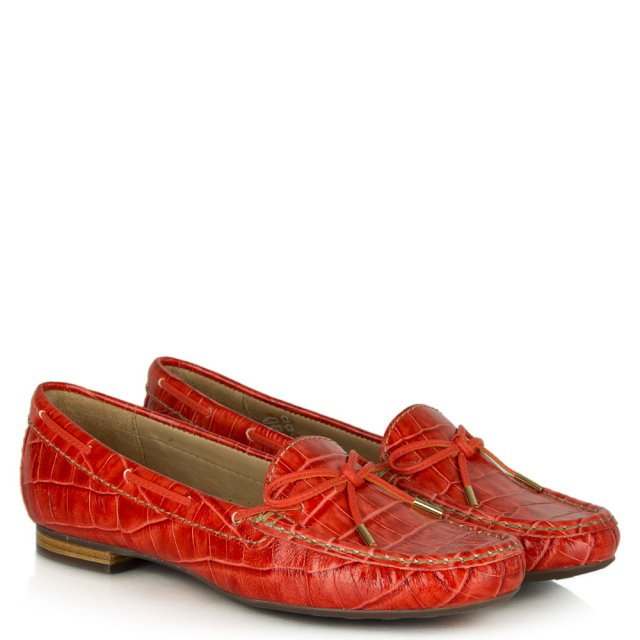 Daniel Alexandria Red Leather Reptile Driving Loafer