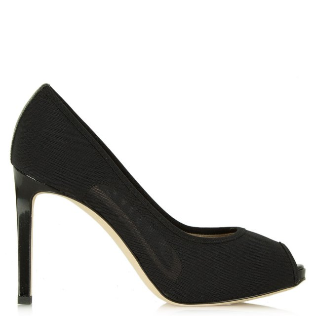 Daniel Arlington Black Mesh Peep Toe Court Shoe