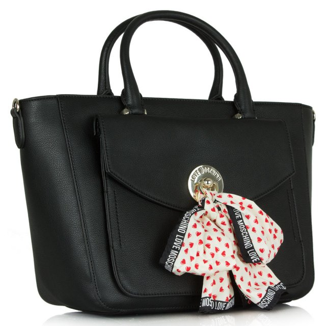 Love Moschino Ariana Black With Scarf Shopper