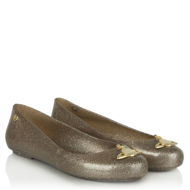 Vivienne Westwood Space Love Gold Glitter Orb Ballet Flat
