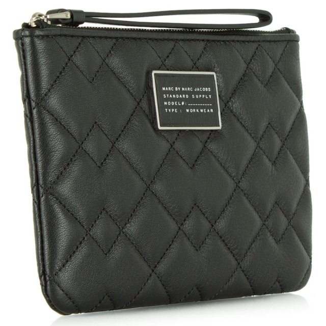 Marc Jacobs Crosby Black Leather Quilted Wrist-Let Pouch