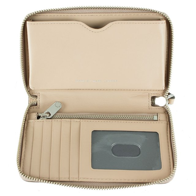 Marc Jacobs New Q Wingman Nude Leather Wrist-Let Zip Around Wallet